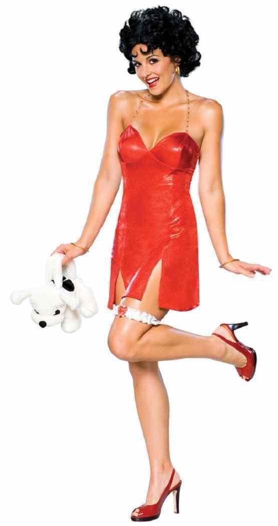 Betty Boop Sequin Flapper Red Short Fancy Dress Up Halloween Sexy Adult Costume