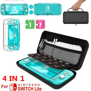 For Nintendo Switch Lite Carrying Case+TPU Cover+Tempered Glass Screen Protector