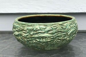 Vintage-pottery-planter-green-round-bowl-style-textured-handthrown-signed-CMC-71