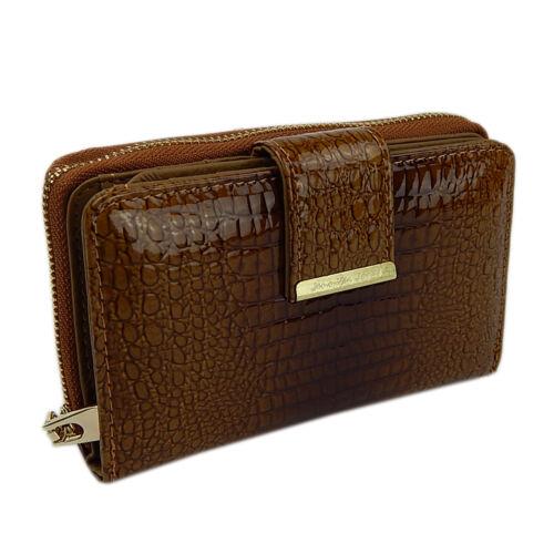 6f5651046d30a 3 von 6 Elegante Damen Portemonnaie Geldbörse Portmonee Leder Lack A5198B  Cognac