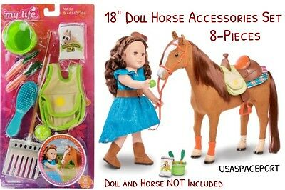 """18"""" Doll Horse Care Set Pony Foal For My Life As American Girl Boy Barn Stable"""