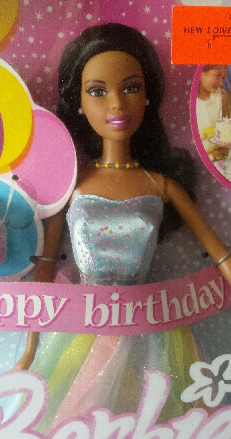 Feliz Cumpleaños Barbie Doll 2005 Mattel afroamericano Coleccionable