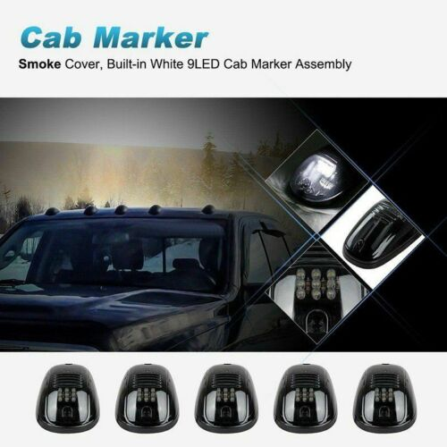 5Pcs Smoked White LED Cab Roof Top Marker Running Light For Truck SUV Pickup 4x4