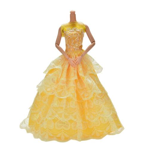 "1 Pcs Yellow Handmade Wedding Lace 4 Layers Dress for 11/"" s Nice"