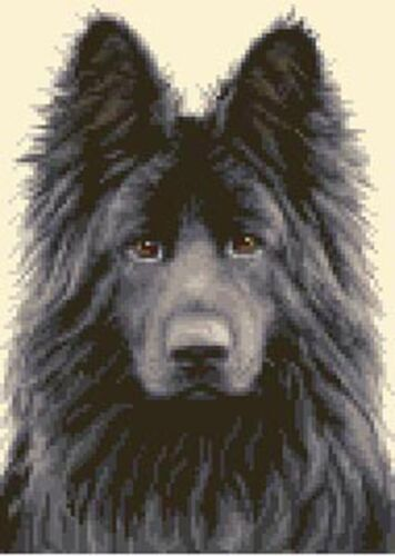 BLACK GERMAN SHEPHERD ALSATIAN dog Counted cross stitch kit