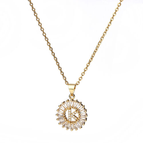 Necklace Gold Plated Round Initial Alphabet// Letter Message Clear Rhinestone