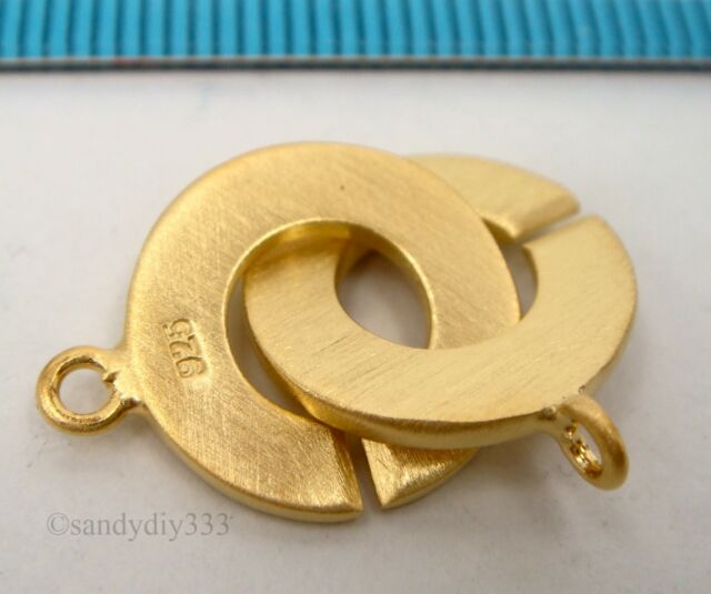 1x REAL 18K GOLD plated over STERLING SILVER SATIN ROUND CLASP 14mm G208