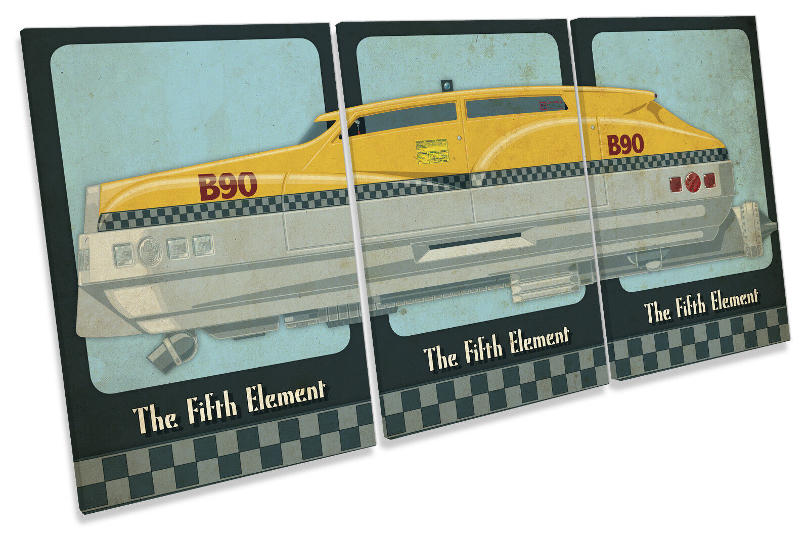 The Fifth Element Korben Taxi Cab Car Film TREBLE CANVAS Wand Kunst Bild Drucken