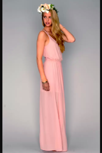 Show me Your Mumu  Kendall Soft V-Back Maxi Gown Dress Medium M  Pink Crisp $162