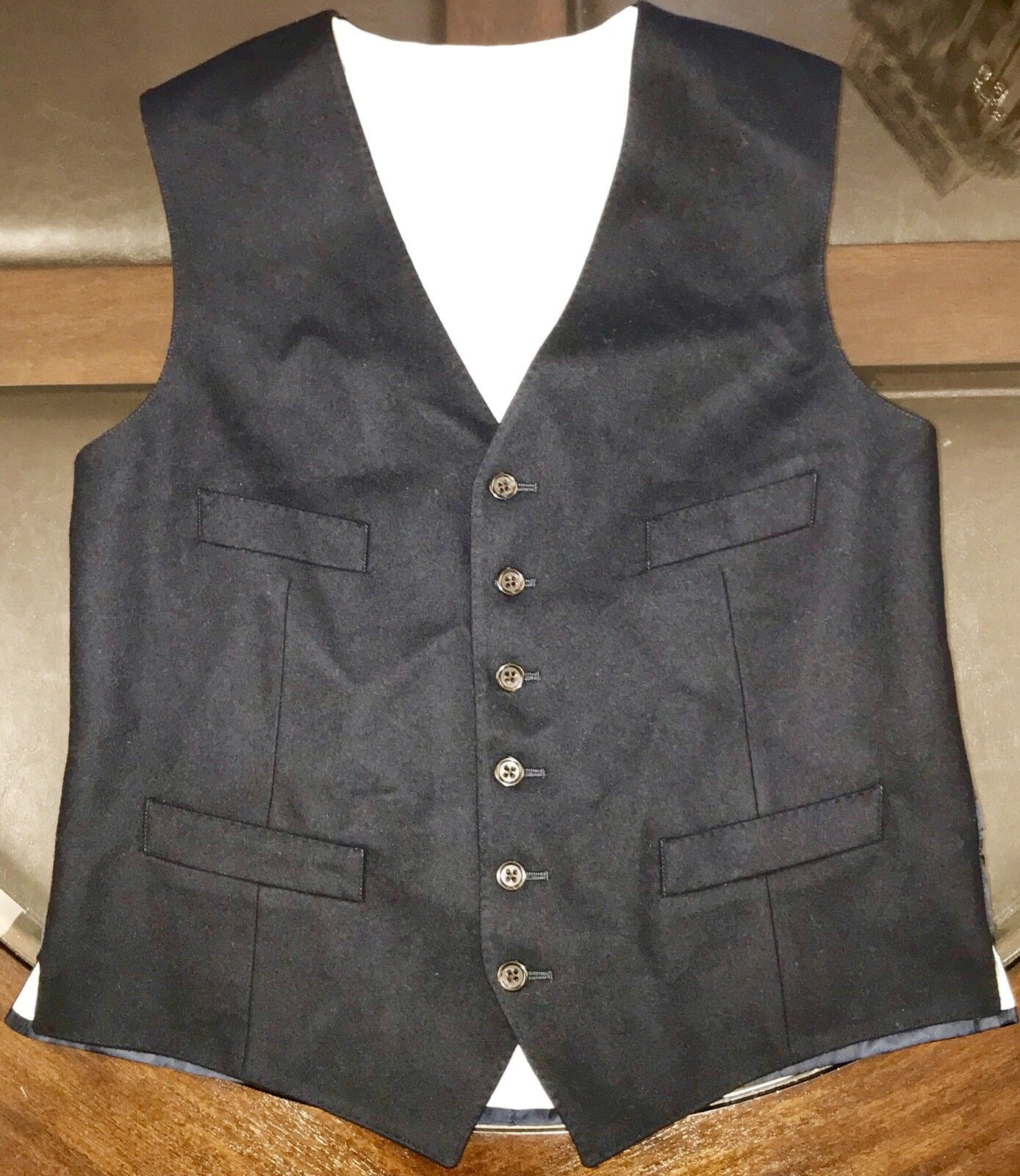 Ralph Lauren Gent's Vest 100% Flannel Wool Dark Navy bluee Sz 40 Made In Slovakia