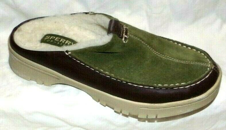 SPERRY TOPSIDER WOMENS GREEN SUEDE SHEEP WOOL LINED CLOGS SIZE 8