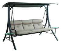 Living Accents 3-Seat 3 person Steel Swing Beige