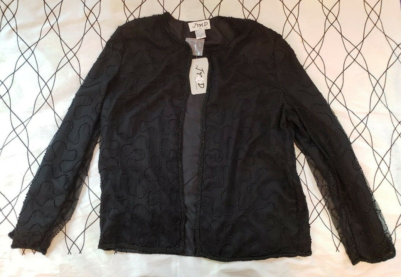 JMD New York Black Beaded Silk Evening Jacket Women's Size PM Vintage WITH TAGS