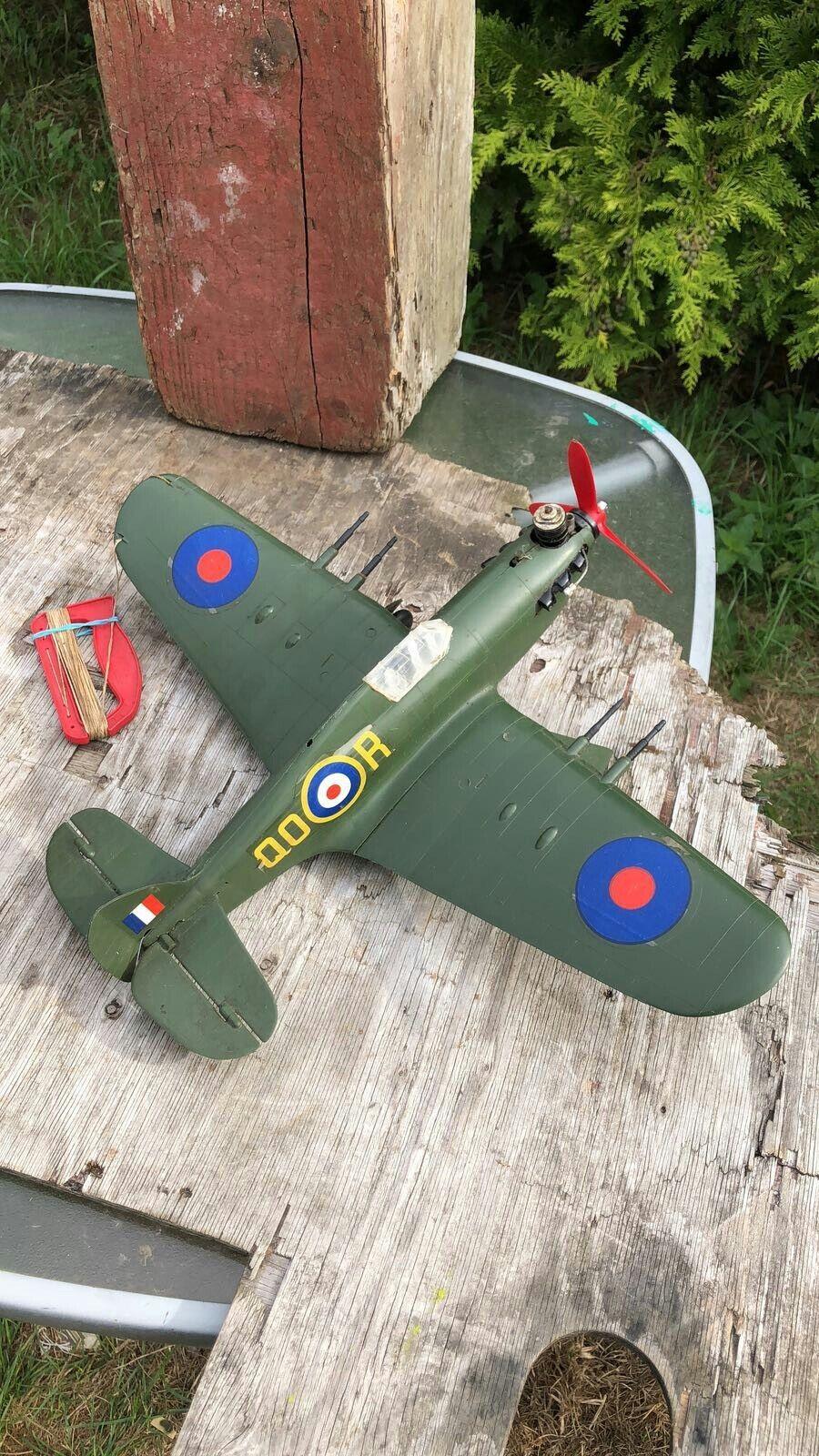 Fantastic Vintage Model Hurricane Aeroplane With Petrol Motor