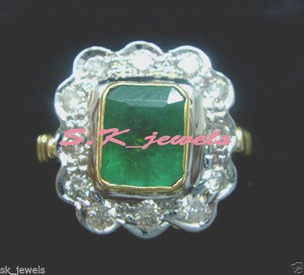 0.40ct NATURAL DIAMOND EMERALD 14k YELLOW gold WEDDING ANNIVERSARY CLUSTER RING