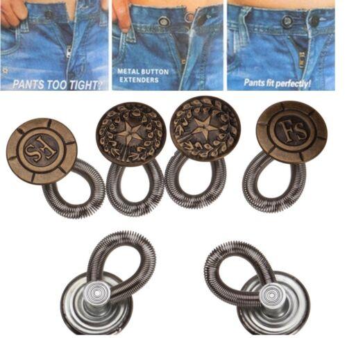 6 pcs Jeans Unisexe Pantalon Instant Fix Jeans Mandrins Taille Extender bouton en métal
