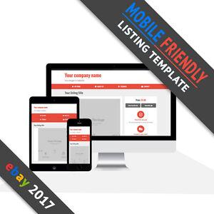 ebay listing template 2017 mobile friendly auction responsive design red ebay. Black Bedroom Furniture Sets. Home Design Ideas
