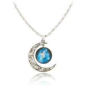 Women Trendy Galactic Glass CABOCHON Pendant Silver-tone Crescent Moon Necklace 923