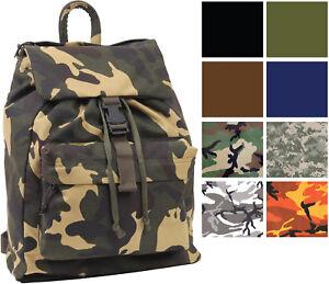 Canvas Military Day Pack Camo Backpack Army Knapsack Rucksack Work ... af6784a4de6