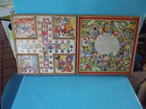 Ancien-Plateau-jeu-de-l-039-oie-petits-chevaux-Donald-Mickey-panpan-Walt-Disney