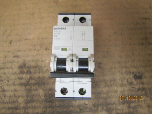 Siemens Circuit Breaker 5SY4204-8 5SY42 MCB D4 4A 4 A Amp 400V 277-480VAC 2 Pole