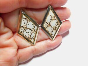 Vintage-Art-Deco-Confetti-Diamond-Shaped-Gold-Tone-Metal-Cuff-links