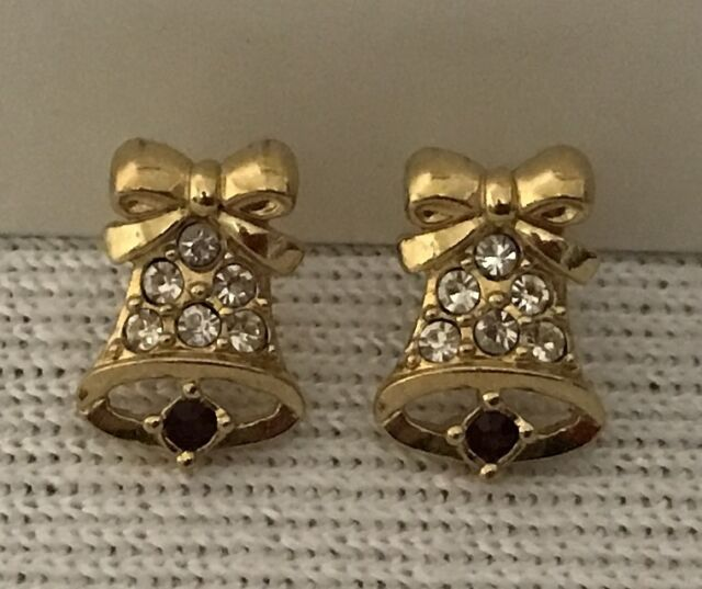 CHRISTMAS BELL EARRINGS clear rhinestone gold tone pierced stud