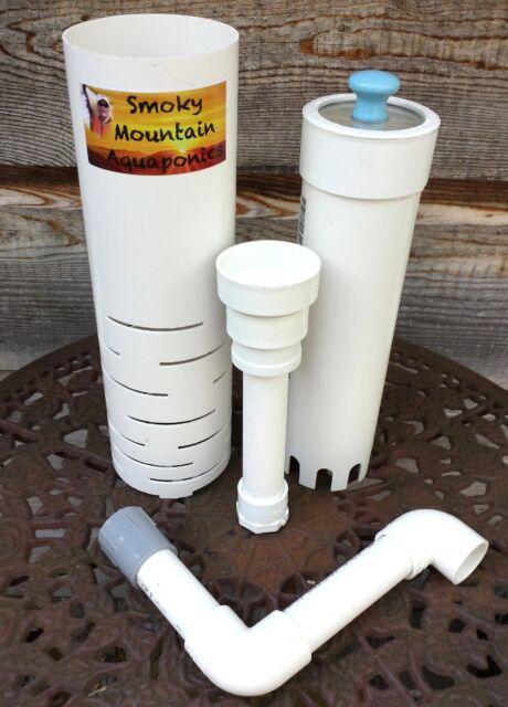 "Six Aquaponics Fail Safe 12"" Bell Siphon Kits IBC Grow Bed  W 1 Clear Top Bell"
