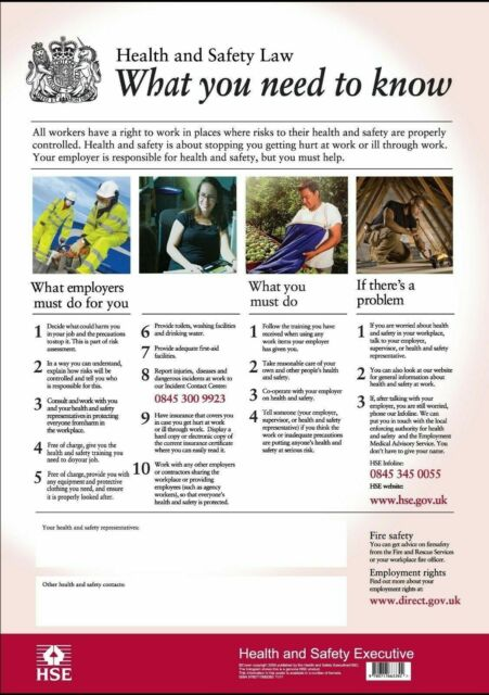Hse Health And Safety Law Poster A4 Version For Sale Online Ebay