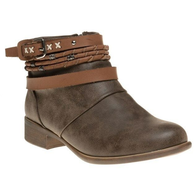 New Womens SOLESISTER Brown Elves Synthetic Boots Ankle Zip