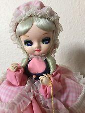 "Bradley Big Eye Doll, Little Bo Peep Pink Dress Outfit 13"" Tall"