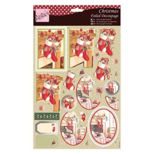 Anita/'s déjouée noël decoupage chaussettes de noël pour cartes et artisanat
