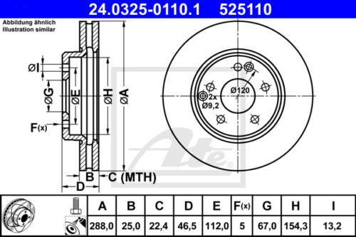 2x Unités antithrombine powerdisc Essieu Avant 24.0325-0110.1 MERCEDES-BENZ SLK va r170