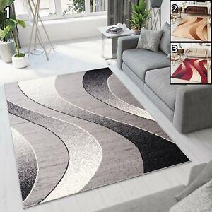 Teppich Kurzflor Grau Beige Rot Modern Meliert Wellen Designer Wohnzimmer Neu Ebay