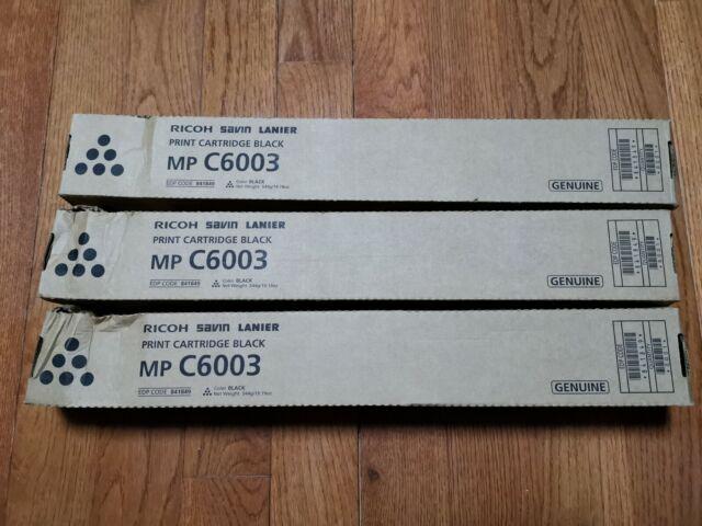 3 Brand Brand New Black Genuine Ricoh MP C6003 Print Cartridges 841849