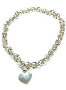 HEAVY-Silver-925-Heart-Love-Charm-Circle-Rolo-Link-Chain-Toggle-Tennis-Necklace
