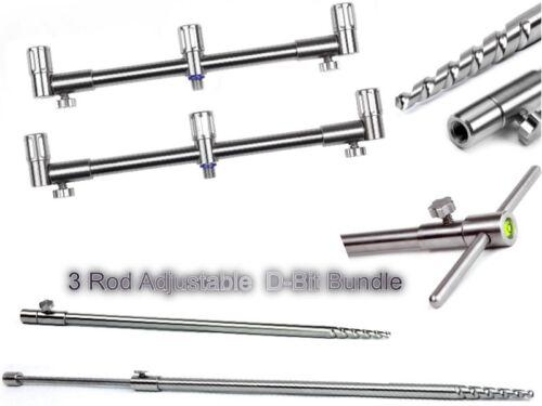 Angelsport-Rutenauflagen Summit Tackle 3 Rod Adjustable D-Bit Buzz Bar Bank Stick Bundle Stainless steel Angelsport-Artikel