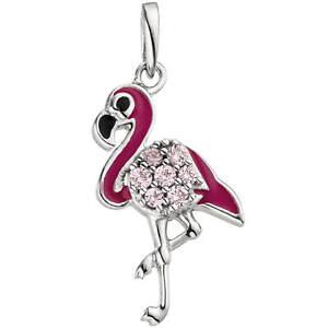 Aufstrebend Anhänger, Flamingo Mit Rosafarbenden Zirkonia Und Lackeinlagen, 925 Silber