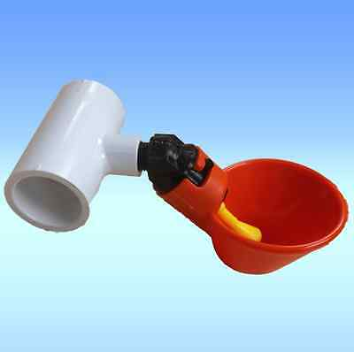 """(100) AUTOMATIC WATERER DRINKER CUPS & 1/2"""" PVC FITTINGS CHICKEN POULTRY COOP"""