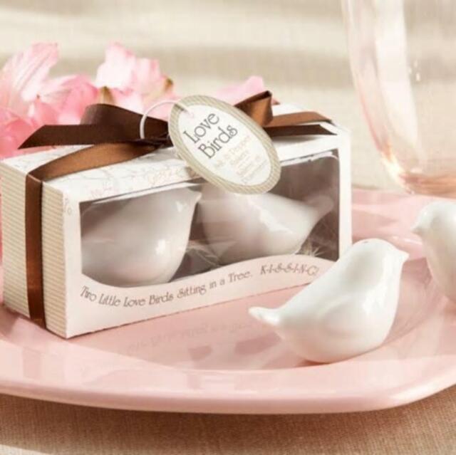 White Love Bird Pair Ceramic Salt & Pepper Shakers Cute Wedding Gift For Friend