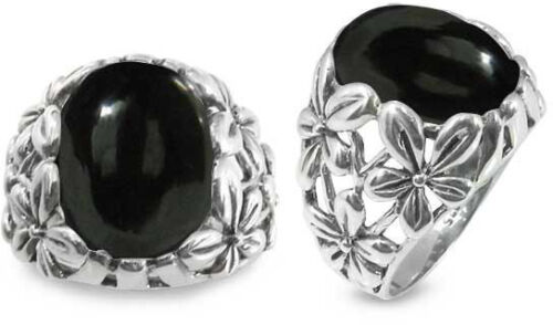 Sterling Silver Ring Oval Black Onyx Stone 6067//ONY