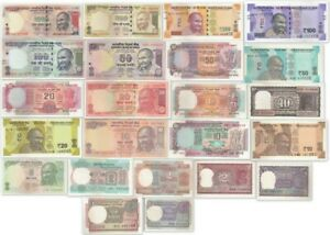 RUPEES IN UNC TO 200// INDIA SET OF 20 PCS ALL DIFFERENT BANKNOTES SET FROM 1//