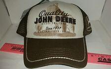 BRAND NEW Quality John Deere Tractors Cap HAT Mesh Back LICENSED BROWN WHITE