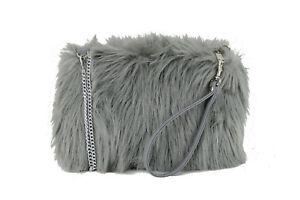 LONI Womens Faux Fur Shoulder Crossbody Clutch Wristlet Bag Size Small