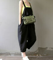 Korea Style Womens Strap Romper Jumpsuit Loose Overall Linen Pants HOT Trousers