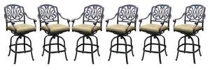 Patio bar stools set of 6 Elisabeth cast aluminum outdoor barstool Bronze - Deutschland - Patio bar stools set of 6 Elisabeth cast aluminum outdoor barstool Bronze - Deutschland