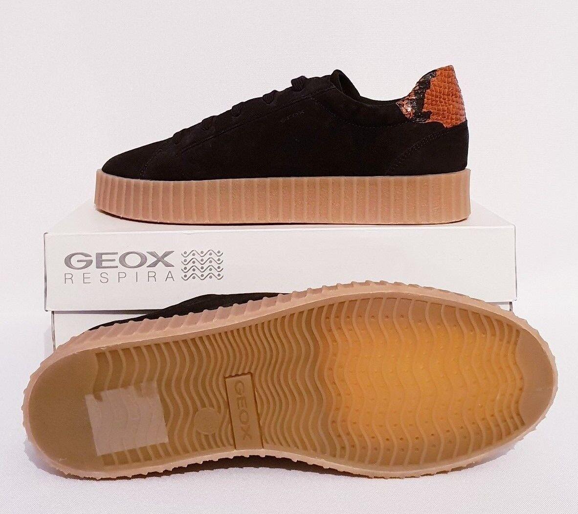 GEOX BLACK RESPIRA HIDENCE D6434B  NAVY Blau BLACK GEOX SUEDE LACE UP Schuhe TRAINERS b28ffa