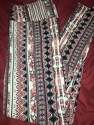 Lularoe Tc Tall Curvy Leggings Aztec Quilts Mint Black Maroon Pink New Print Nwt With Traditional Methods