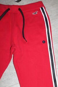 cf7fc3c482 Dettagli su Hollister Uomo Sweatpants Pantaloni Tuta Rosso Bianco Nero  Tutti Misura Nuovo