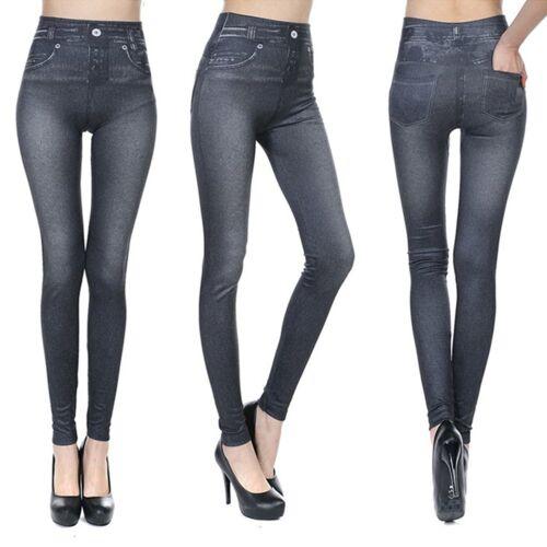 NEW Genie Slim Jeggings Black Ultra Plush Jean Pattern With Pockets Women/'s